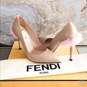Fendi Mink Fur Trim Beige Leather Pump